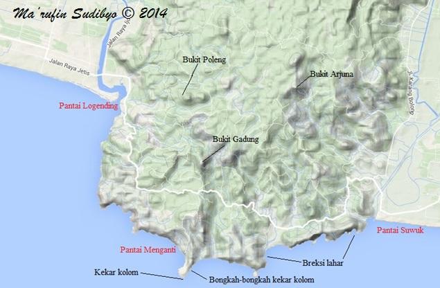 Gambar 10. Lokasi dimana jejak-jejak gunung berapi purba tersingkap dalam Tanjung Karangbolong (warna hitam), di antara sejumlah pantai eksotis di kawasan ini (warna merah muda). Sumber: Sudibyo, 2014 dengan basis Google Maps.