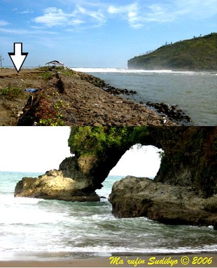 Gambar 2. Pantai Suwuk pasca bencana tsunami 2006, sebelum dikembangkan lebih lanjut menjadi obyek wisata unggulan (atas) dan jembatan lengkung alamiah tepat di tubir laut lepas di pantai Pasir (bawah). Kedua pantai ini terletak di Tanjung Karangbolong, dimana pantai Suwuk merupakan pantai bermuara tepat di batas timur tanjung dan menjadi kawasan transisi daratan rendah ke tinggian berbukit-bukit. Sebaliknya pantai Pasir terletak di tengah-tengah tanjung Karangbolong sehingga berbataskan tebing curam di belakangnya. Sumber: Sudibyo, 2006.