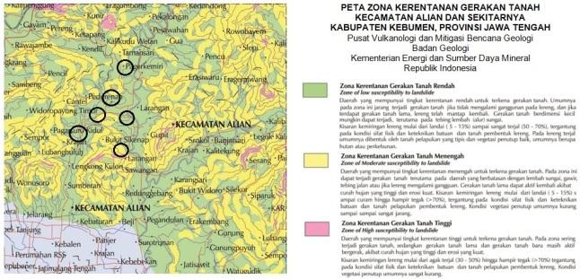 Gambar 7. Peta zona kerentanan gerakan tanah untuk Kecamatan Alian dan sekitarnya, yang didominasi oleh zona rentan gerakan tanah menengah (warna kuning). Lingkaran-lingkaran hitam menunjukkan titik-titik tanah longsor pada Minggu malam 23 November 2014 TU. Sumber: PVMBG, 2014.