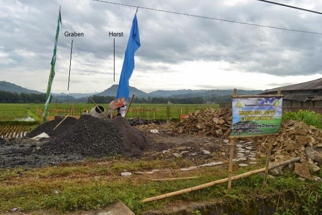 Gambar 3. Pemandangan lembah Kedungbener dari lokasi pembangunan Musholla wakaf tunai BMT Sejahtera Umat di Desa Surotrunan. Di latar belakang nampak sesar Kedungbener dengan graben dan horst-nya yang khas. SUmber: BMT Sejahtera Umat, 2014.