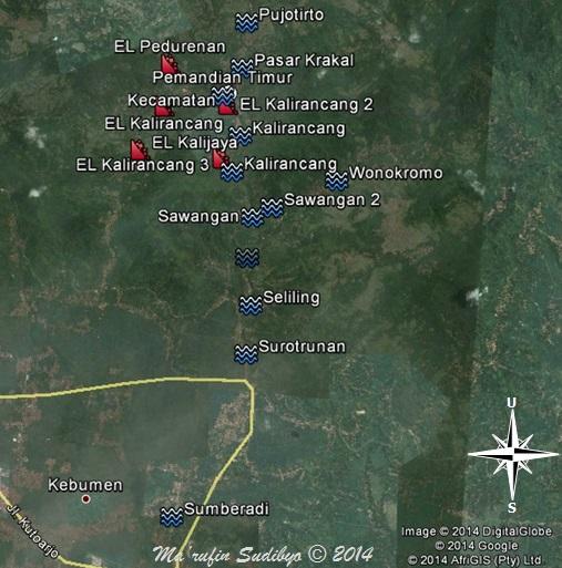 Gambar 2. Titik-titik dimana tanah longsor (EL: earth landslide) terjadi pada Minggu malam 23 November 2014 TU serta genangan akibat banjir kilat Selasa sore 25 November 2014 TU di dalam lembah Kedungbener. Sumber: Sudibyo, 2014 dengan basis Google Earth.