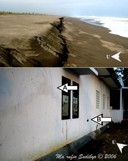 Gambar 7. Jejak kedahsyatan tsunami produk gempa besar Pangandaran 2006 di pesisir Kabupaten Kebumen. Atas: tebing pasir curam setinggi 1 meter yang terbentuk oleh terjangan tsunami di pantai Sidoharjo (Kec. Puring). Di sini tsunami menginvasi hingga 60 meter ke daratan dari garis pantai. Bawah: jejak tsunami di dinding pos Lanal Ayah di pantai Logending (Kec. Ayah). Di sini riak tsunami mencipratkan air hingga setinggi 2 meter dari paras tanah (A). Hempasan tsunami beserta reruntuhan material yang diangkutnya mampu melubangi dinding (B). Sumber: Sudibyo, 2006.