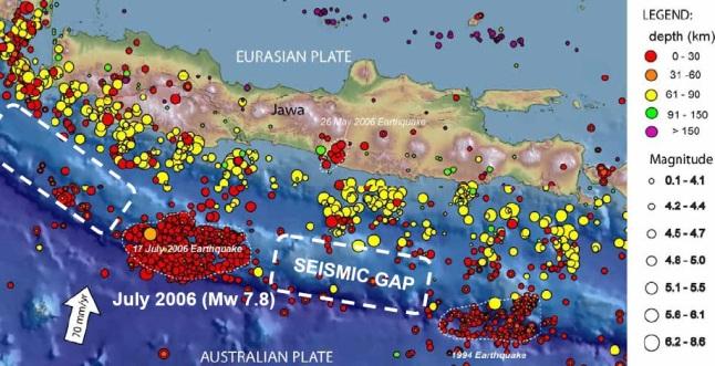Gambar 8. Koordinat episentrum-episentrum gempa di sekujur pulau Jawa hingga 2007 TU. Nampak dua lokasi di zona subduksi yang telah melepaskan gempa besar dan tsunaminya. Masing-masing di sebelah timur (sumber gempa besar Banyuwangi 1994) dan sebelah barat (sumber gempa Pangandaran 2006). Nampak pula dua lokasi jarang gempa (ditandai garis putus-putus), masing-masing di selatan Jawa Barat dan selatan Jawa Tengah (ditandai sebagai seismic gap). Dua lokasi tersebut diprediksi bakal menjadi sumber gempa besar dan tsunami mendatang. Sumber: Natawidjaja, 2007.