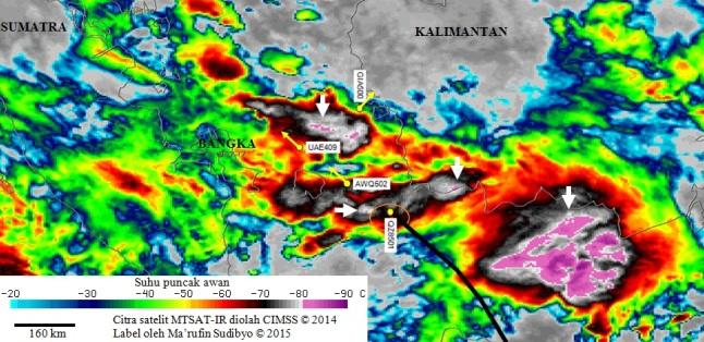 Gambar 7. Citra satelit cuaca MTSAT-2 dalam kanal inframerah yang diambil pada 28 Desember 2014 TU pukul 06:32 WIB, 14 menit pasca AirAsia penerbangan QZ8501 menghilang. Garis hitam adalah proyeksi lintasan penerbangan pesawat naas itu dalam menit-menit terakhirnya berdasarkan transponder ADS-B yang dipublikasikan FlightRadar24.com. Warna gelap menunjukkan posisi awan-awan cumulonimbus. Tanda panah menunjukkan awan-awan cumulonimbus dengan overshooting top (sembulan) di puncaknya, pertanda sedang terjadi badai. Selain pesawat yang naas, terlihat juga posisi tiga penerbangan lainnya yang sama-sama menembus awan cumulonimbus namun sampai di tujuan dengan selamat. Sumber: CIMSS, 2014 dengan label oleh Sudibyo, 2015.