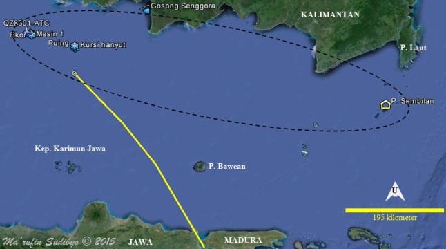 Gambar 2. Titik-titik temuan puing-puing Airbus A320-216 PK-AXC AirAsia penerbangan QZ8501 dalam Google Earth (garis putus-putus). Puing-puing itu tersebar dalam rentangan lebih dari 650 kilometer dari Selat Karimata hingga tubir Selat Makassar di pulau Sembilan. Garis kuning menunjukkan proyeksi lintasan penerbangan pesawat naas itu dalam menit-menit terakhirnya berdasarkan transponder ADS-B yang dipublikasikan FlightRadar24.com. Titik QZ8501-ATC adalah titik koordinat terakhir pesawat tersebut menurut radar ATC Jakarta. Sumber: Sudibyo, 2015 berbasis Google Earth dan data Basarnas, 2014-2015.