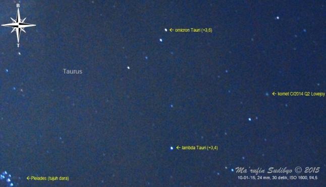 Gambar 4. Komet C/2014 Q2 Lovejoy bersama dengan gugus bintang Pleiades atau Tujuh Dara. Diabadikan dengan Nikon D60 dan diolah dengan GIMP 2. Sumber: Sudibyo, 2015.