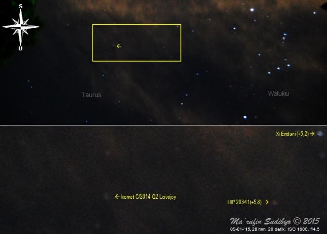 Gambar 1. Komet C/2014 Q2 Lovejoy dalam observasi hari pertama di tengah gelimang cahaya Bulan pasca purnama dan awan-awan tipis yang berarak-arak. Atas: kedudukan komet (tanda panah) dalam citra bidang lebar rasi bintang Taurus dan Waluku. Bawah: detil posisi komet dan bintang-bintang disekelilingnya, sebagai perbesaran dari kotak kuning dalam citra diatasnya. Diabadikan dengan Nikon D60 dan diolah dengan GIMP 2. Sumber: Sudibyo, 2015.