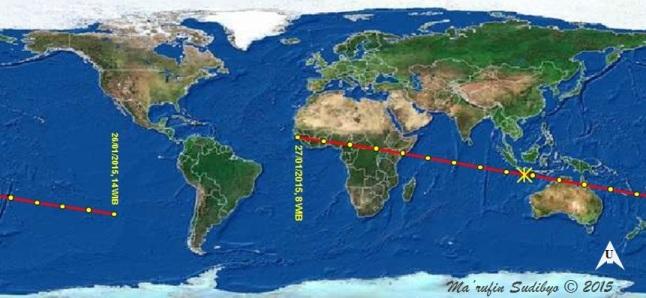 Gambar 2. Proyeksi lintasan asteroid (357439) 2004 BL86 di permukaan Bumi dalam momen-momen perlintasan dekatnya, mulai Senin 26 Januari 2015 TU pukul 14:00 WIB hingga 18 jam kemudian. Proyeksi lintasan asteroid digambarkan dengan garis merah tak terputus. Tanda bintang (*) menunjukkan proyeksi koordinat asteroid saat berada pada titik terdekatnya dengan Bumi. Sumber: Sudibyo, 2015 dengan data dari NASA Solar System Dynamics.