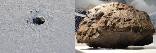 Gambar 6. Kiri: struktur lingkaran (lubang) berdimensi 6 meter pada lapisan es setebal 70 cm di permukaan Danau Cherbakul, Cheylabinsk (Rusia). Sempat dianggap sebagai lubang buatan manusia, belakangan terungkap bahwa struktur lingkaran ini dibentuk oleh jatuhnya meteorit relatif besar ke Danau Cherbakul dalam Peristiwa Chelyabinsk 2013. Kanan: meteorit seberat ~600 kilogram yang bertanggung jawab atas munculnya struktur lingkaran di lapisan es Danau Cherbakul, setelah diangkat ke permukaan. Sumber: Popova, 2013.