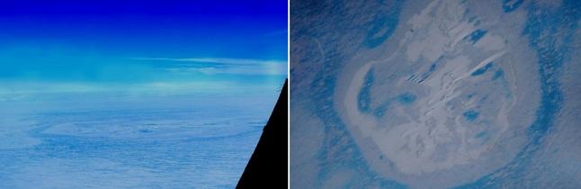 Gambar 5. Struktur melingkar unik berdimensi sekitar 2.000 meter yang terletak di lepas pantai Putri Ragnhild, bagian dari daratan Ratu Maud, Antartika bagian timur. Diabadikan dari samping (kiri) dan atas (kanan) dengan pesawat Polar 6 milik Alfred Wegener Institute. Sumber: AWI, 2014.