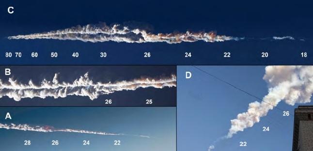 Gambar 6. Awan debu lurus (train) yang khas dalam Peristiwa Chelyabinsk 2013 dari waktu ke waktu. Angka-angka menunjukkan perkiraan ketinggian dalam kilometer dpl. A: 5 detik setelah terbentuk, awan masih sempit dan pekat dengan emisi warna merah dan merah jingga. B: 35 detik setelah terbentuk, masih tersisa warna jingga yang kemungkinan adalah emisi cahaya dari molekul-molekul NO. C: 46 hingga 73 detik setelah terbentuk, warna merah jingga masih tersisa. D: 1,5 menit pasca terbentuk, awan debu lurus mulai melebar dan menipis. Berdasarkan pada pemotretan yang dilakukan Marat Ahmetvaleev dan Evgueny Tvogorov. Sumber: Popova dkk, 2013.