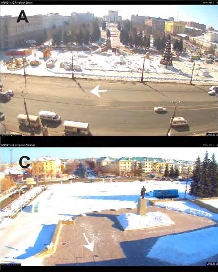 Gambar 5. Bagaimana Peristiwa Chelyabinsk 2013 menghasilkan bayang-bayang yang sangat tegas pada benda-benda yang tersinarinya kala terjadi kilatan cahaya pertama, seperti direkam oleh sejumlah kamera keamanan. A: bayang-bayang tiang lampu (tanda panah) di Lapangan Revolusi Chelyabinsk. Lintasan boloid berada di arah pandang kamera. B: bayang-bayang pohon, patung dan tiang lampu (tanda panah) bangunan administratif Cherbakul. Lintasan boloid berada di belakang arah pandang kamera. Disajikan oleh Eduard Kalinin. Sumber: Popova dkk, 2013.