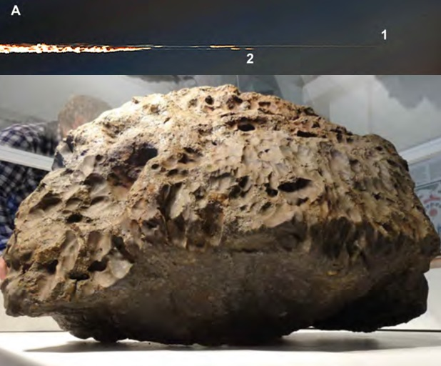 Gambar 15. Atas: dua bongkahan besar nampak melejit dari titik dimana boloid Peristiwa Chelyabinsk 2013 mengalami pemecah-belahan brutal di ketinggian 27 kilometer dpl. Masing-masing adalah bongkahan pertama (1) dan bongkahan kedua (2). Bongkahan kedua lenyap di ketinggian 18,5 kilometer dpl bersamaan dengan kilatan cahaya ketiga. Bawah: meteorit terbesar dan terberat dalam Peristiwa Chelyabinsk 2013, yang berhasil diangkat dari dasar Danau Cherbakul lebih dari setengah tahun setelah kejatuhannya. Meteorit besar ini adalah bongkahan pertama yang berhasil selamat tiba di paras Bumi dan membentur permukaan danau dengan kecepatan 810 km/jam. Sumber: Popova dkk, 2013.