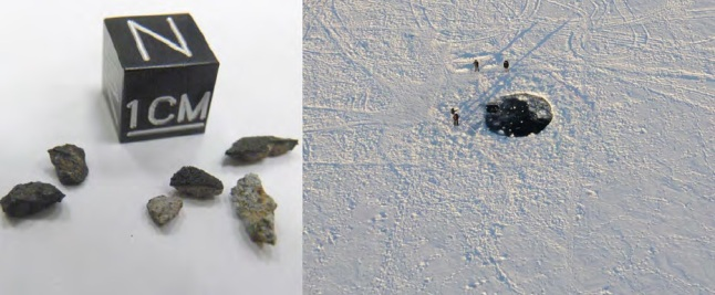 Gambar 14. Lubang yang dibentuk oleh hantaman meteorit besar di dataran es permukaan Danau Cherbakul dilihat dari udara (kanan) beserta sejumlah meteorit kecil yang ditemukan disekitar lubang (kiri). Sumber: Popova dkk, 2013.