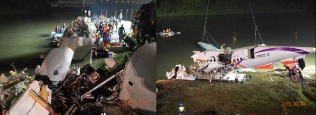 Gambar 2. Saat-saat bagian bangkai pesawat ATR 72-600 B-22816 TransAsia penerbangan GE235 diangkat dari dasar sungai Keelung dalam beberapa jam pasca kecelakaan. Sumber: TASC, 2015.