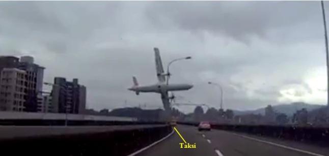 Gambar 1. Momen saat pesawat ATR 72-600 B-22816 TransAsia penerbangan GE235 menggores jalan layang Huandong sebelum tercebur ke sungai Keelung. Selain menggores jalan layang, ujung sayap kiri pesawat naas tersebut juga menggores wajah sebuah taksi. Akibatnya dua orang didalamnya mengalami luka-luka. Direkam oleh kamera dasbor MiVue538 dalam sebuah kendaraan yang kebetulan lewat. Sumber: Anonim, 2015.