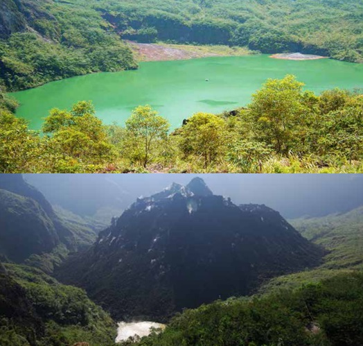Gambar 4. Bagaimana wajah kawah Gunung Kelud berubah antara sebelum tahun 1990 (atas) dan 2008 TU (bawah), diabadikan dari titik yang sama di bibir kawah. Jelang Letusan Kelud 1990, mayoritas kawah Kelud digenangi air sebagai danau kawah dengan air berwarna hijau toska akibat pengaruh gas vulkanik. Sementara pasca Letusan Kelud 2007, hampir seluruh bagian danau kawah telah menghilang dan digantikan dengan gundukan kubah lava 2007 yang masih berasap. Hanya tersisa sedikit genangan air di sisi barat daya (latar depan). Sumber: Geomagz, 2014.