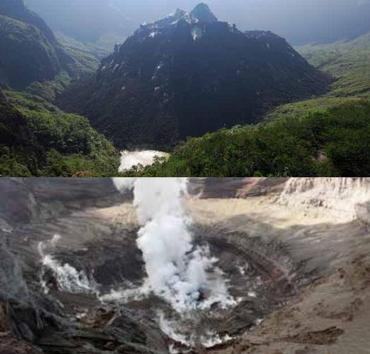 Gambar 5. Perubahan dramatis wajah kawah Gunung Kelud antara sebelum (atas) dan sesudah Letusan Kelud 204 (bawah), diabadikan dari titik yang hampir sama. Letusan kelud 2014 membuat kubah lava 2007 yang diproduksi oleh Letusan Kelud 2007 sebelumnya remuk dan menjadi komponen rempah letusan. Sebagai gantinya terbentuk lubang letusan berdiameter sekitar 400 meter yang masih berasap. Tak ada lagi genangan air. Sumber: Geomagz, 2014.