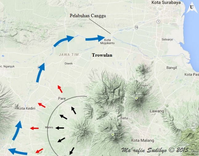 Gambar 9. Diagram sederhana yang menunjukkan bagaimana aktivitas Gunung Kelud berpengaruh bagi kerajaan Majapahit. Saat Gunung Kelud meletus, terbentuk lahar letusan (panah hitam) yang sanggup mengalir hingga sejauh 40 kilometer dari kawah (garis titik-titik). Setelah beberapa lama, endapan lahar letusan bakal dihanyutkan lagi oleh air hujan deras menjadi lahar hujan (panah merah). Hampir seluruh materi lahar hujan akan masuk ke sungai Brantas, sungai utama di lembah Brantas. Di sungai Brantas, materi lahar hujan akan menghilir jauh hingga akhirnya sampai ke pelabuhan Canggu dan muaranya. Imbasnya pelabuhan Canggu menjadi kian dangkal dan muara sungai Brantas pun terus berkembang. Sumber: Sudibyo, 2014 dengan basis Google Maps dan data dari Zainuddin dkk, 2013.