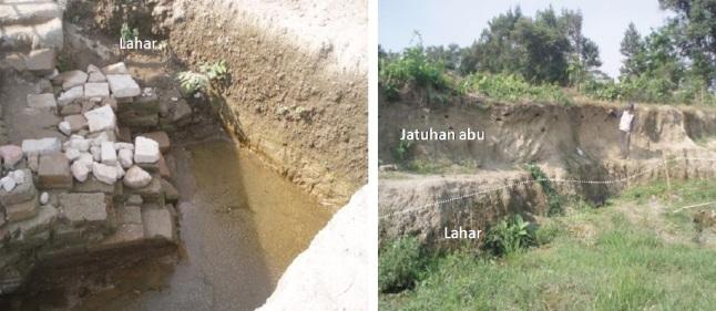 Gambar 7. Situs candi Tondowongso di Gayam, kediri (Jawa Timur) yang baru ditemukan pada April 2007 dan belum sepenuhnya diekskavasi. Situs ini berjarak 20 kilometer di sebelah barat laut kawah Gunung Kelud. Seluruh lapisan tanah yang menimbuni situs ini merupakan produk letusan Gunung Kelud, yang terbagi menjadi dua: jatuhan abu/debu vulkanik dan lahar. Endapan lahar di situs ini merupakan bukti dahsyatnya letusan Gunung Kelud di masa kerajaan Majapahit. Sumber: Zainuddin dkk, 2013.
