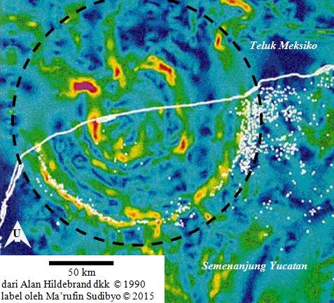 Gambar 2. Peta anomali gravitasi kawasan Semenanjung Yucatan bagian utara yang memperlihatkan dengan jelas Struktur Chicxulub. Lingkaran putus-putus ditambahkan untuk mempertegas lokasi struktur. Terlihat jelas busur setengah lingkaran yang adalah cincin kawah raksasa Chicxulub. Kawah raksasa ini terkubur di bawah sedimen berumur Tersier setebal 600 meter. Sumber: Hildebrand dkk, 1990.
