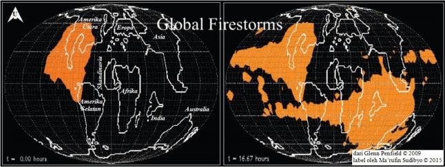 Gambar 4. Bagaimana tumbukan asteroid raksasa pembentuk kawah raksasa Chicxulub mampu membangkitkan kebakaran hutan spontan dalam lingkup global diperlihatkan dalam simulasi ini. Pada detik-detik pertama pasca tumbukan (kiri), suhu tinggi akibat paparan sinar panas dan guyuran material produk tumbukan hanya mewarnai daratan Amerika Utara purba, hingga menimbulkan badai api. Namun dalam hampir 17 jam pasca tumbukan (kanan), badai api telah melingkupi sebagian besar permukaan Bumi. Khususnya akibat guyuran material produk tumbukan yang sempat terlontar melampaui atmosfer dan kembali ke Bumi sebagai trilyunan meteor. Jejak kebakaran hutan spontan yang bersifat global ini terekam jelas pada lapisan lempung tipis di batas sedimen zaman Kapur dan Tersier. Sumber: Penfield, 2009.