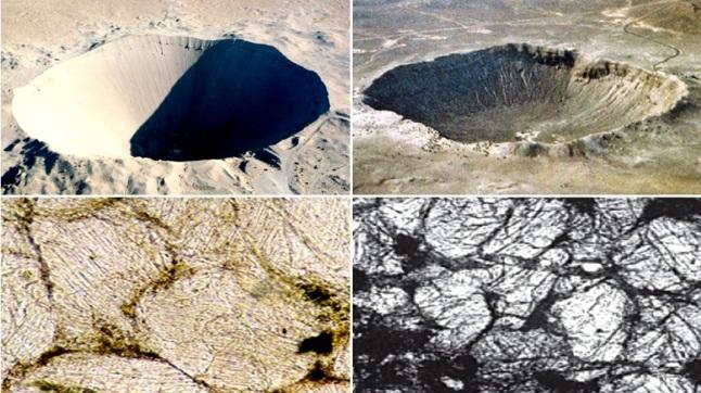 Gambar 7. Atas: dua buah cekungan/kawah yang morfologinya mirip meski dibentuk oleh penyebab yang berbeda. Kawah Sedan (diameter 426 meter) dibentuk oleh ujicoba peledakan nuklir Sedan yang melepaskan energi 104 kiloton TNT (kiri). Sementara Kawah Barringer (diameter 1.186 meter) dibentuk oleh tumbukan asteroid 50.000 tahun silam dengan pelepasan eenrgi 3,5 megaton TNT (kanan). Bawah: Sayatan tipis batuan pasir di bawah Kawah Sedan (kiri) dan Kawah Barringer (kanan) saat dilihat dengan mikroskop terpolarisasi. Nampak butir-butir batuannya memperlihatkan pola garis-garis lurus yang sama. Pola ini disebut planar deformation features (PDF) dan merupakan khas terjadinya metamorfosa akibat menerima tekanan yang sangat tinggi. Secara alamiah tekanan yang sangat tinggi di Bumi hanya bisa diproduksi oleh tumbukan komet/asteroid. Sumber: Atomic Energy Comission, 1965; French, 2008; M. Short, 2000.
