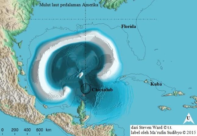 Gambar 5. Saat-saat megatsunami setinggi ratusan meter menjalar di Teluk Meksiko hanya dalam beberapa detik pasca tumbukan asteroid raksasa, dalam simulasi Ward. Asteroid jatuh dari arah selatan-tenggara. Simulasi tsunami disesuaikan dengan situasi Teluk Meksiko purba 65 juta tahun silam, yang lebih luas dari sekarang. Garis hitam menunjukkan garis pantai modern. Megatsunami produk tumbukan asteroid raksasa ini menjalar ke segala arah dan meninggalkan jejak dimana-mana. Termasuk ke dalam laut pedalaman Amerika, yang kini telah tertutup. Sumber: Ward, t.t.