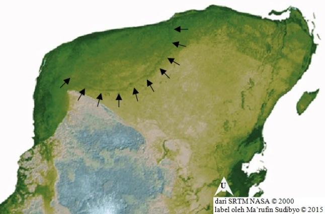 Gambar 12. Citra rupabumi kawasan Semenanjung Yucatan, diproduksi dengan peta DEM (digital elevation model) berdasarkan data SRTM (Shuttle Radar Topographic Mission) NASA. Sebagian lengkungan tepi kawah (cincin kawah) Struktur Chicxulub nampak jelas dalam citra ini, seperti diperlihatkan dalam tanda panah. Sumber: NASA, 2000.