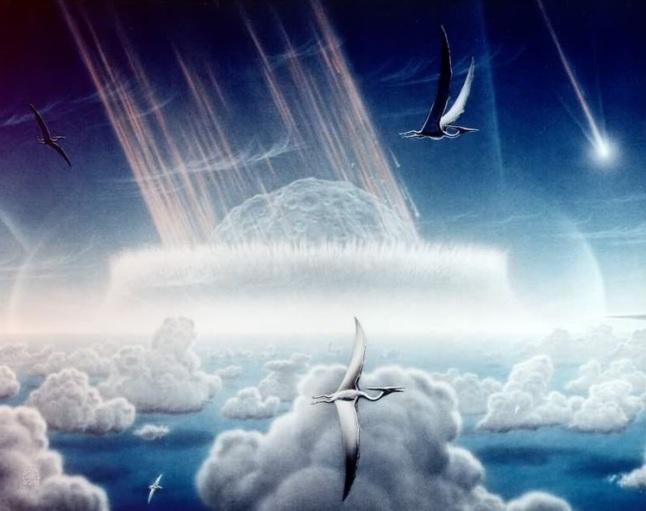Gambar 14. Gambaran artis saat-saat asteroid raksasa (diameter 5 hingga 15 kilometer) jatuh di Teluk Meksiko purba dengan kawanan Pterosaurus berterbangan di latar depan. Tumbukan ini memicu bencana global yang menyebabkan 76 % makhluk hidup zamannya musnah, termasuk dinosaurus. Digambar oleh Donald E. Davis untuk NASA pada 1994 TU. Sumber: Davis, 1994.