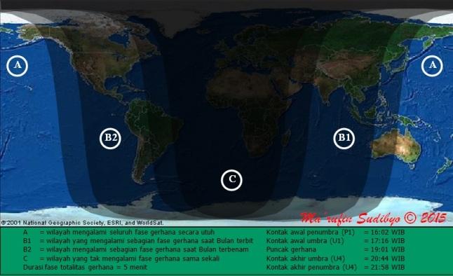 Gambar 3. Peta wilayah Gerhana Bulan Total 4 April 2015 untuk lingkup global. Perhatikan bahwa hanya di wilayah A dan B (baik B1 maupun B2) saja Gerhana Bulan ini bisa dilihat, sepanjang langit tak berawan. Sumber: Sudibyo, 2015.