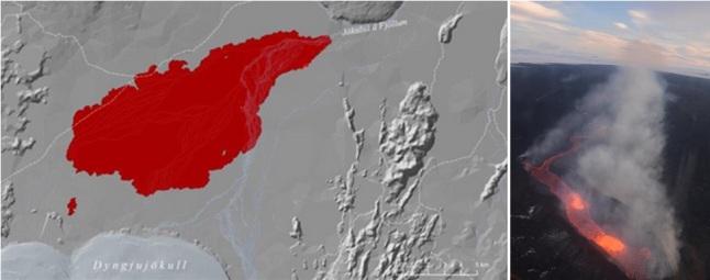 Gambar 7. Letusan Holuhraun di Gunung Bardarbunga (Islandia). Meski menjadi letusan gunung berapi termutakhir dengan volume keluaran magma terbesar, namun jumlah partikulat dan aerosol sulfat yang dilepaskannya ke udara dianggap belum cukup mampu untuk membuat Bulan menjadi benar-benar gelap di puncak gerhana. Kiri: kawasan seluas 85 kilometer persegi yang telah ditutupi oleh magma basaltik produk letusan Holuhraun. tebal magma di kawasan ini mencapai rata-rata 7 meter. Kanan: pantauan salah satu titik letusan Holuhraun dari udara. Magma basaltik encer meluap dari pusat letusan yang berbentuk retakan sepanjang ratusan meter, untuk kemudian mengalir ke arah tertentu layaknya sungai api. Darinya gas vulkanik mengepul, tanpa debu vulkanik yang signifikan. Sumber: University of Iceland, 2015.