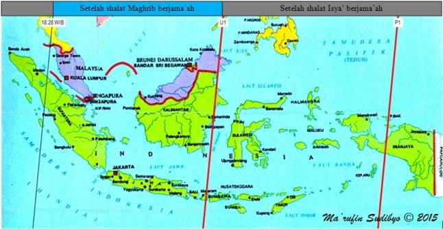 Gambar 6. Peta saran waktu pelaksanaan shalat gerhana bulan terkait peristiwa Gerhana Bulan Total 4 April 2015 di Indonesia, dengan mengacu pada saat-saat fase totalitas. Untuk daerah-daerah yang ada di sisi timur garis U1 dan yang ada di sisi barat garis 18:28 WIB disarankan menyelenggarakan shalat gerhana bulan di masjid-masjid segera setelah shalat Isya' berjama'ah. Sebaliknya daerah-daerah yang terletak di antara garis U1 dan 18:28 WIB disarankan menyelenggarakan shalat gerhana bulan di masjid-masjid segera setelah shalat Maghrib berjama'ah. Sumber: Sudibyo, 2015.