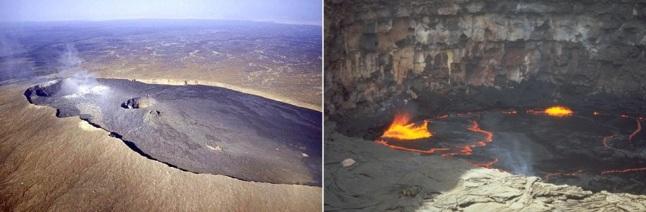 Gambar 7.  Gunung berapi Erta Ale (Ethiopia). Puncaknya berelevasi 613 meter dpl dan berbentuk rupa kaldera lonjong berukuran 700 x 1.600 meter yang terdiri dari dua kawah dan masing-masing memiliki danau lava. Danau lava selatan (kanan) masih terus aktif hingga kini. Gunung Erta Ale adalah gunung berapi yang berdiri di atas lembah retakan besar terusan Laut Merah. Ada kemungkinan gunung-gunung berapi di Ganiki Chasma di Venus bersifat seperti Gunung Erta Ale. Sumber: Global Volcanism Program, 2015.