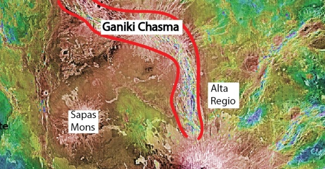 Gambar 4. Lembah retakan besar Ganiki Chasma di kawasan Alta Regio, Venus. Diabadikan dengan citra radar Magellan. Sumber: NASA, 1994.