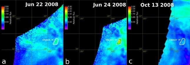 Gambar 5. Dinamika pancaran panas di Obyek A dalam pantauan kamera VMC Venus Express antara Juni hingga Oktober 2008 TU. Obyek A adalah salah titik yang diduga merupakan gunung berapi di dalam lembah retakan Ganiki Chasma. Sumber: Shalygin dkk, 2015.