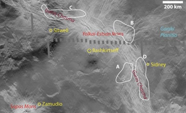 Gambar 6. Keempat titik yang diduga gunung berapi aktif dalam lembah retakan Ganiki Chasma. Masing-masing Obyek A, Obyek B, Obyek C dan Obyek D. Sumber: Shalygin dkk, 2015.