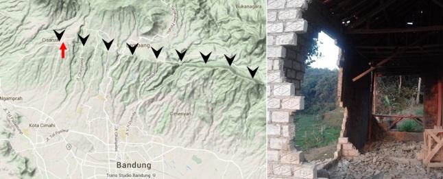Gambar 5. Kiri: peta topografi daratan sebelah utara kota Bandung (propinsi Jawa Barat). Panah-panah hitam menunjukkan jejak sesar Lembang yang legendaris. Sesar ini terlihat sangat jelas sebagai jajaran bukit-bukit yang hampir lurus dalam arah barat-timur. Kanan: salah satu unit rumah di kampung Muril, desa Jambudipa, yang rusak berat akibat Gempa 28 Agustus 2011 TU meski gempanya tergolong ringan (3,3 skala Richter). Lokasi kampung Muril dinyatakan dalam tanda panah merah. Sumber: Asuh Umat Foundation, 2011.