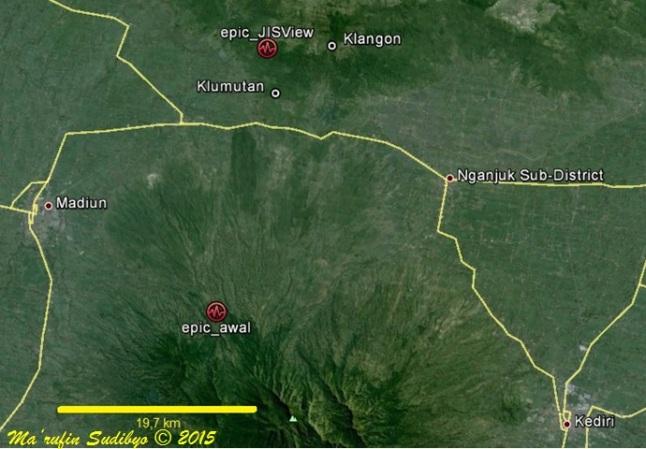 Gambar 1. Peta daratan Madiun bagian timur yang diapit oleh Gunung Wilis di selatan dan Gunung Pandan di utara. Epic_awal merupakan posisi episentrum gempa 25 Juni 2015 TU berdasarkan publikasi awal BMKG. Sedangkan epic_JISView adalah posisi episentrum hasil analisis lanjutan BMKG yang bertumpu pada perangkat lunak JISView. Desa Klangon dan Klumutan nampak cukup dekat dengan posisi episentrum hasil analisis lanjutan. Sumber: Sudibyo, 2015 dengan peta Google Earth dan data BMKG.