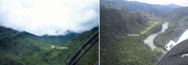 Gambar 7. Contoh landasan udara khas yang hanya dijumpai di kawasan Pegunungan Jayawijaya, pulau Irian. Mulai dari landasan pendek miring pada elevasi cukup tinggi dan dipagari bukit-bukit yang puncaknya kerap tertutupi awan (kiri). Hingga landasan yang terletak dalam lembah antar pegunungan di tepi sungai (kanan). Sumber: KNKT, 2010.