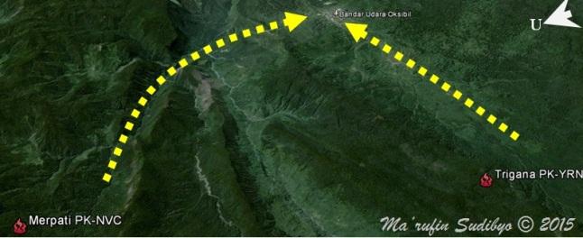 Gambar 2. Lokasi jatuhnya pesawat ATR 42-300 PK-YRN Trigana Air Service dalam peta berbasis citra satelit. Di dekatnya juga terdapat lokasi jatuhnya pesawat Twin Otter PK-NVC Merpati Nusantara yang terjadi pada 2 Agustus 2009 TU silam. Garis putus-putus menandakan lintasan yang seyogyanya ditempuh setiap pesawat kala melintasi celah guna mendarat di bandara Oksibil. Sumber: Sudibyo, 2015 berbasis Google Earth.