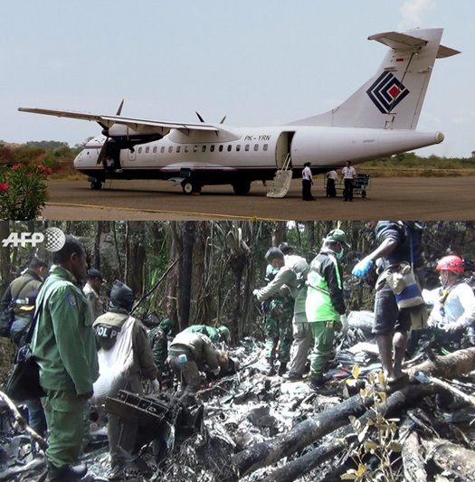 Gambar 1. Pesawat ATR 42-300 PK-YRN Trigana Air Service, saat diparkir di apron bandara Mutiara, Labuhan Bajo (propinsi Nusa Tenggara Timur) pada 29 September 2008 TU usai bertugas (atas). Inilah pesawat yang mengangkut 54 orang dan jatuh di salah satu sudut Pegunungan Jayawijaya pada 16 Agustus 2015 TU. Lokasi jatukecelakaan ditemukan sehari kemudian, namun tim SAR darat baru bisa menjangkaunya dalam dua hari kemudian (bawah). Sumber: AviationSafetyNetwork, 2015 & Agence France-Presse, 2015.