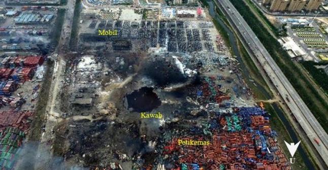 Gambar 1. Pemandangan lokasi ledakan dahsyat di kompleks pelabuhan Tianjin, diabadikan dari udara. Titik pusat ledakan terdahsyat nampak ditandai dengan cekungan (kawah) yang tergenangi cairan. Disekelilingnya terlihat tumpukan petikemas yang berantakan dan jajaran mobil siap ekspor yang berubah menjadi puing-puing. Sumber: News.cn, 2015.