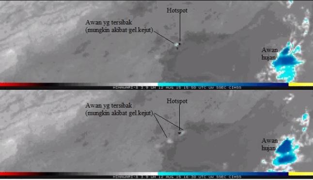 Gambar 5. Ledakan dahsyat Tianjin seperti teramati dari satelit cuaca Himawari-8 pada kanal 3,9 mikron dalam selisih waktu 40 menit. Terlihat hotspot (titik-panas) yang menunjukkan lokasi ledakan. Juga awan yang terlihat menyibak menjauhi hotspot , mungkin akibat dorongan gelombang kejut ledakan. Sumber: JMA, 2015.