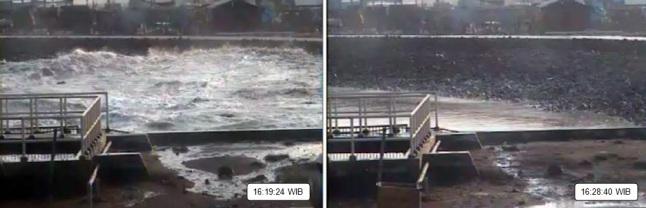 Gambar 2. Menit-menit terjangan Tsunami 17 Juli 2006 di kolam PLTU Bunton (Kabupaten Cilacap) seperti yang direkam kamera sirkuit tertutup (CCTV). Air bah Tsunami terekam mulai memasuki kolam pada pukul 16:08 WIB. Pukul 16:19 WIB (kiri), gelombang ketiga mulai memasuki kolam hingga meluber dalam beberapa detik kemudian. Selang 9 menit kemudian (kanan), paras kolam telah kembali seperti semula sebelum tsunami melanda. Sumber: PLTU Bunton, 2006 dalam Lavigne dkk, 2007.