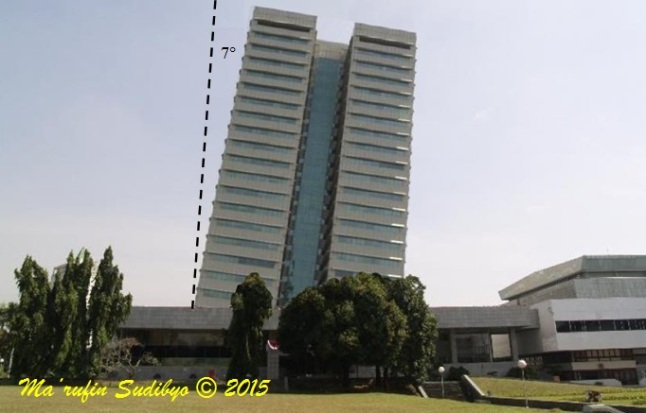 Gambar 1. Panorama Gedung Nusantara 1 di kompleks parlemen (kompleks gedung DPR/MPR) jika benar-benar miring 7 derajat. Perhatikan betapa kasat matanya kemiringan tersebut. Garis putus-putus menunjukkan orientasi sumbu vertikal (sumbu tegaklurus permukaan Bumi setempat). Citra ini bukan sesungguhnya, karena direkayasa dengan komputer dengan perangkat lunak GIMP 2. Sumber: Sudibyo, 2015 dengan citra asli dari Cahyono/TeropongSenayan, 2014.