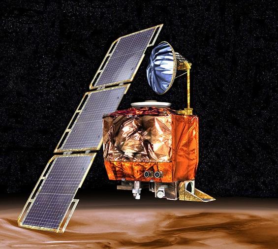 Gambar 5. Wantarika Mars Climate Orbiter dalam gambaran artis komputer. Wantariksa ini ditujukan untuk mengorbit planet Mars pada ketinggian orbit yang aman. Namun kasus metrifikasi membuatnya terjerumus memasuki atmosfer Mars yang lebih rendah (dan lebih pekat udara) sehingga hancur dan terbakar. Sumber: NASA, 1999.