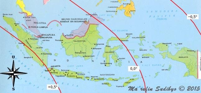 Gambar 1. Peta garis-garis tinggi Bulan di Indonesia pada saat Matahari terbenam Minggu 13 September 2015 TU dalam penentuan 1 Zulhijjah 1436 H. Nampak bahwa Indonesia dibelah oleh garis nol (garis yang menunjukkan tinggi Bulan sama dengan nol derajat). Sumber: Sudibyo, 2015.