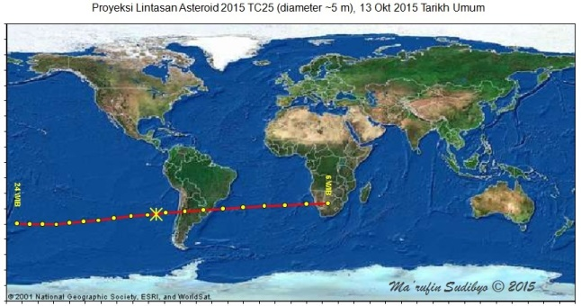 Gambar 5. Peta proyeksi lintasan asteroid 2015 TC25 di paras Bumi pada 13 Oktober 2015 TU sejak pukul 06:00 hingga 24:00 WIB. Lintasan dengan garis takterputus menghubungkan titik-titik proyeksi kedudukan asteroid per 60 menit. Tanda (*) menunjukkan titik proyeksi kedudukan asteroid yang terdekat ke Bumi, yakni 104.700 kilometer dpl. Sumber Sudibyo, 2015 berbasis Starry Night Backyard 3.0 dengan data NASA Solar System Dynamics