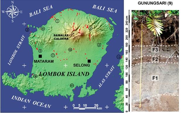 Gambar 9. Salah satu singkapan tefra Letusan Samalas 1257 yang terletak di Gunungsari, sebelah utara kota Mataram (lokasi nomor 9 dalam peta). Jejak kedahsyatan letusan tersebut tertera di sini, sebagai endapan pasir dan batuapung berlapis tiga (masing-masing ditandai sebagai F1, F2 dan F3). Menandakan sedikitnya terjadi tiga erupsi bertipe Plinian. Sumber Lavigne dkk, 2013.